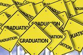 Graduation written on multiple road sign