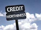 Credit Worthiness sign with clouds and sky background