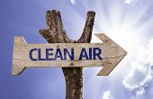 Clean Air wooden sign with sky background
