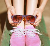 Pink Cool Girl, Gumshoes And Sunglasses, Fashion, Summer, Youth - Concept