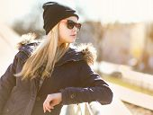 Portrait Fashion Hipster Girl In The City In Sunny Day, Street Fashion