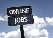 Online Jobs sign with clouds and sky background