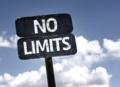 No Limits sign with clouds and sky background