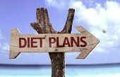 Diet Plans wooden sign with a beach on background