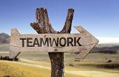 Teamwork wooden sign with a desert background