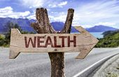 Wealth wooden sign with a street background