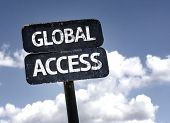 Global Access with clouds and sky background