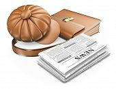 3D Cap Briefcase And Newspaper. Latest News Concept