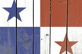 Panama flag on wooden background