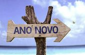 "picture of reveillon  - ""Ano Novo"" (In Portuguese: New Year) sign with a beach on background - JPG"