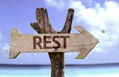 image of rest-in-peace  - Rest wooden sign with a beach on background - JPG