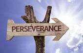 Perseverance wooden sign on a beautiful day