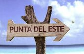 Puntal Del Este wooden sign with a beach on background