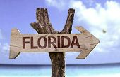 Florida wooden sign with a beach on background