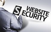 Business man with the text Website Security in a concept image