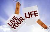 Live your Life on Paper Note on sky background