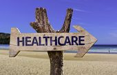 Healthcare wooden sign with a beach on background