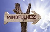 Mindfulness wooden sign on a beautiful day