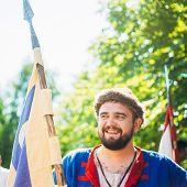 Warrior Participant Of Vi Festival Of Medieval Culture