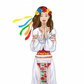 woman pray clasp hands ukrainian national clothes