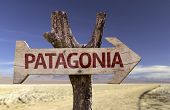 Patagonia wooden sign with a desert background