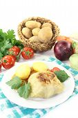 Stuffed Cabbage With Potatoes And Tomato