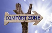 Comfort Zone wooden sign on a beautiful day