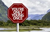 You're Only Young Once written on red road sign with landscape background