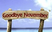 Goodbye November wooden sign with a beach on background