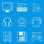 Blueprint icon set. Computer