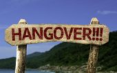 Hangover!!! wooden sign with a beach on background