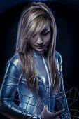 Fiber Optic concept, woman with modern lights