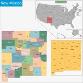 Map of New Mexico state designed in illustration with the counties and the county seats