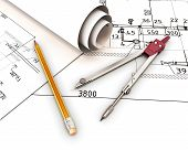 Compasses And Pencil On The Background Of The Drawings.