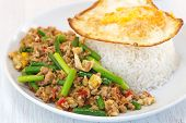Asian food fried garlic plant and pork with egg