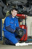 auto repairman mechanic portrait with axle reduction gear in car auto repair or maintenance shop service station
