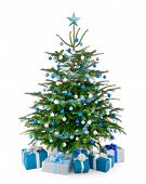 Christmas Tree In Blue And Silver With Gift Boxes
