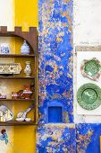 Colorful house and traditional dishes exposition