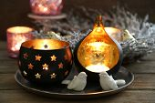 stock photo of christmas wreath  - Composition with beautiful candlesticks - JPG