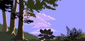 Forest trees and Hills in flat colors