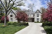 Stone home in suburbs with flowering trees