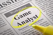 Game Analyst Vacancy in Newspaper.