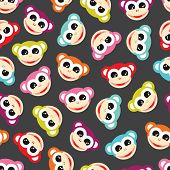 Seamless colorful monkey animals for kids background pattern in vector