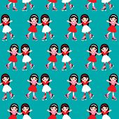 Seamless derby roller skate disco girls illustration background pattern in vector