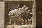 Bas-relief On The Stone With The Figure Of An Elephant.