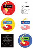 Ticket receipt icon. Six different ways. Flat colors and gradients. Color vector illustration on white background.
