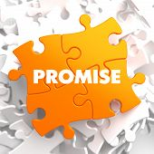 image of promises  - Promise on Yellow Puzzle on White Background - JPG
