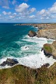 Cornish north coast Bedruthan Steps Cornwall England UK near Newquay