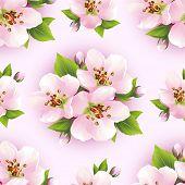 Beautiful Seamless Pattern With Sakura Blossom