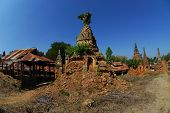 Ancient Pagodas At Shwe Inn Taing Paya Near Inle Lake , Myanmar.